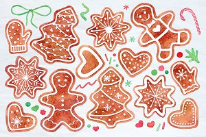 Watercolor gingerbread cookies set