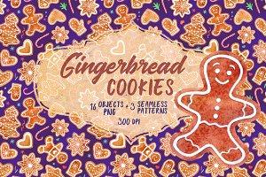 Watercolor gingerbread cookies set