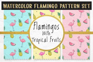 Watercolor Flamingo Pattern Set