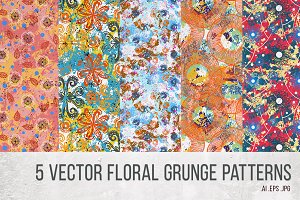 5 Vector floral grunge patterns