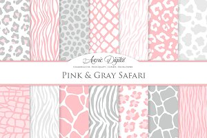 Pink & Grey Animal Prints Background