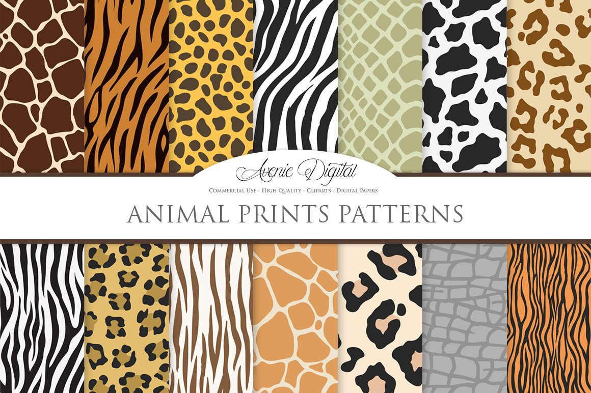 animal print vector patterns paper graphic patterns creative market. Black Bedroom Furniture Sets. Home Design Ideas