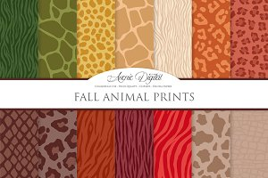 Fall Animal Prints Digital Paper
