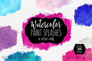 Candy Watercolor Paint Splashes