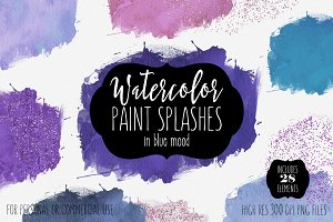 Blue Mood Watercolor Paint Splashes