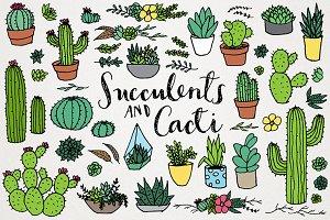 Succulents & Cacti Clipart Set