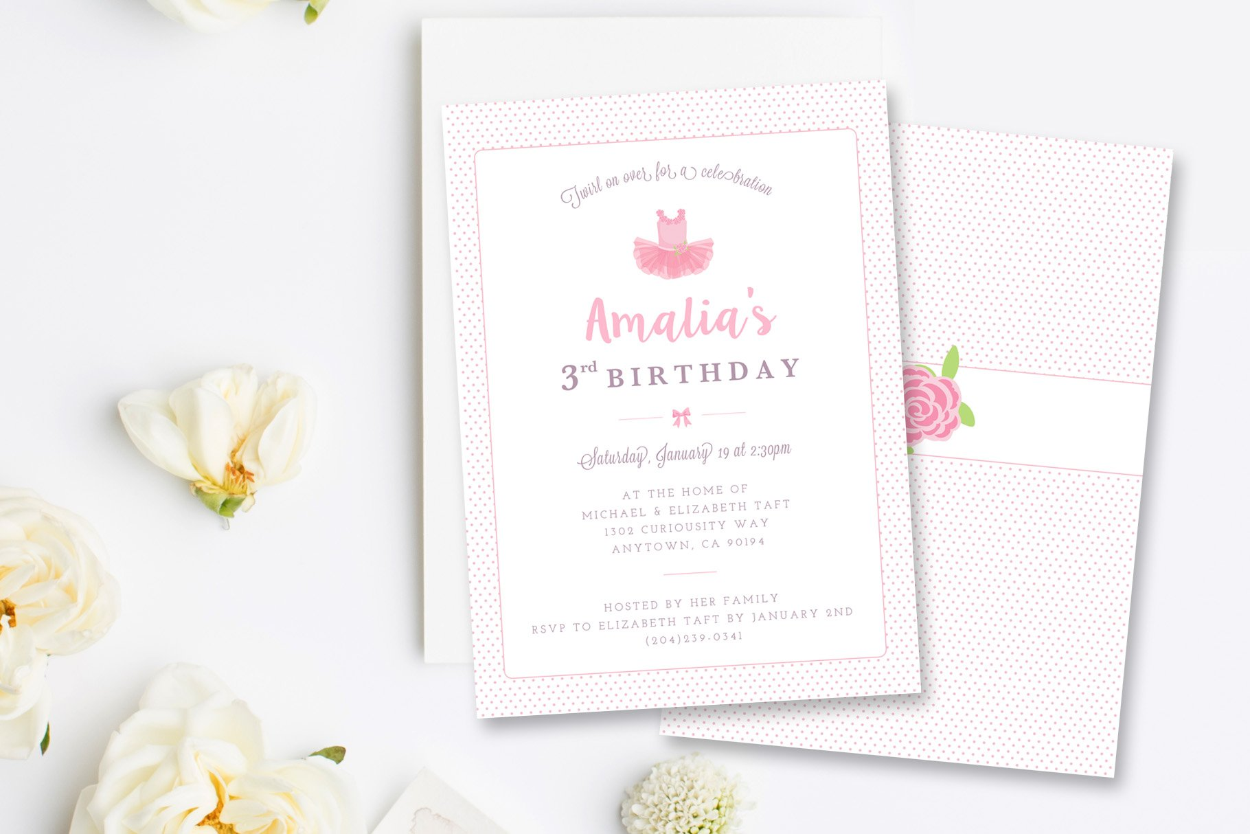 Ballerina Birthday Invitation PSD ~ Card Templates ~ Creative Market