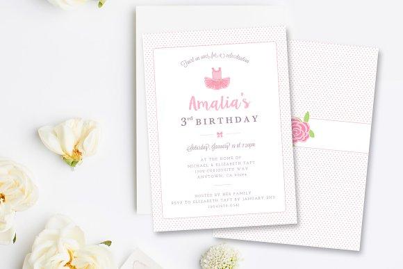 Ballerina birthday invitation psd card templates creative market ballerina birthday invitation psd cards filmwisefo