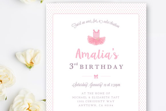 Ballerina Birthday Invitation Psd Card Templates Creative Market