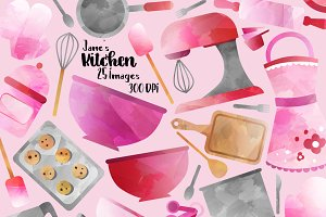 Watercolor Cooking Clipart