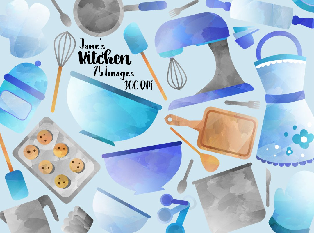 Blue Cooking Supplies Clipart ~ Illustrations ~ Creative Market