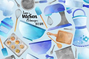 Blue Cooking Supplies Clipart