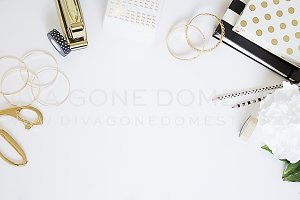 Styled Photo - White & Gold Desk