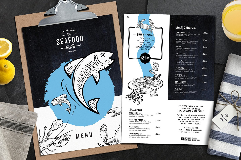 Seafood menu templates brochure templates creative market for Stellas fish cafe menu