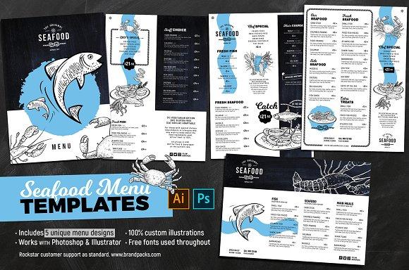 Seafood Menu Templates Brochure Templates Creative Market - Adobe illustrator menu template