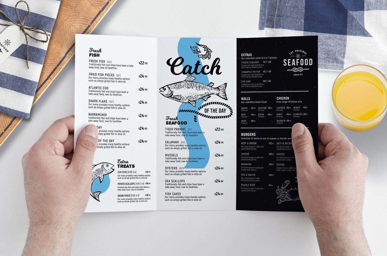 tri fold seafood menu template brochure templates creative market