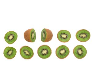 sliced kiwi fruit isolated on white background, with copy space for your text. Top view