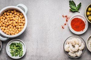 Chickpeas salad ingredients