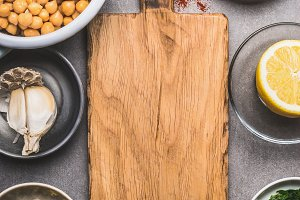 Cutting board and salad ingredients