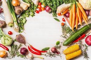 Frame of healthy vegetables