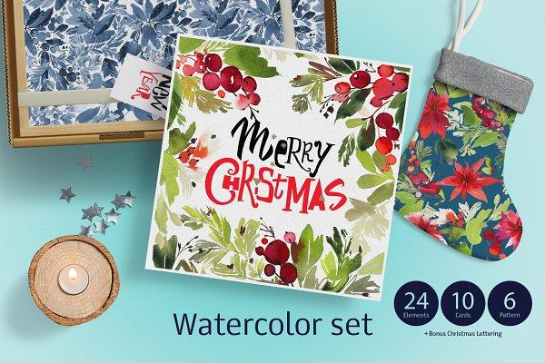Set of Christmas watercolors
