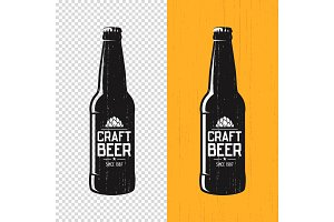 Textured craft beer bottle label design. Vector logo, emblem, ty