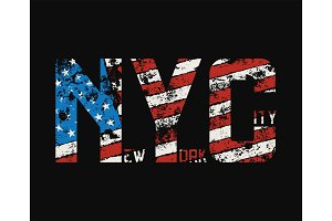 New York City t-shirt and apparel design with grunge effect.