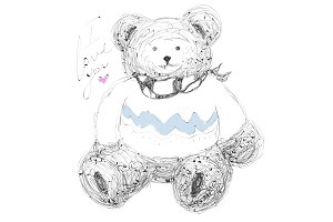 Cute bear. Vector hand drawn illustration with lettering.