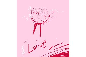 Vector hand drawn peony card with Love you text.