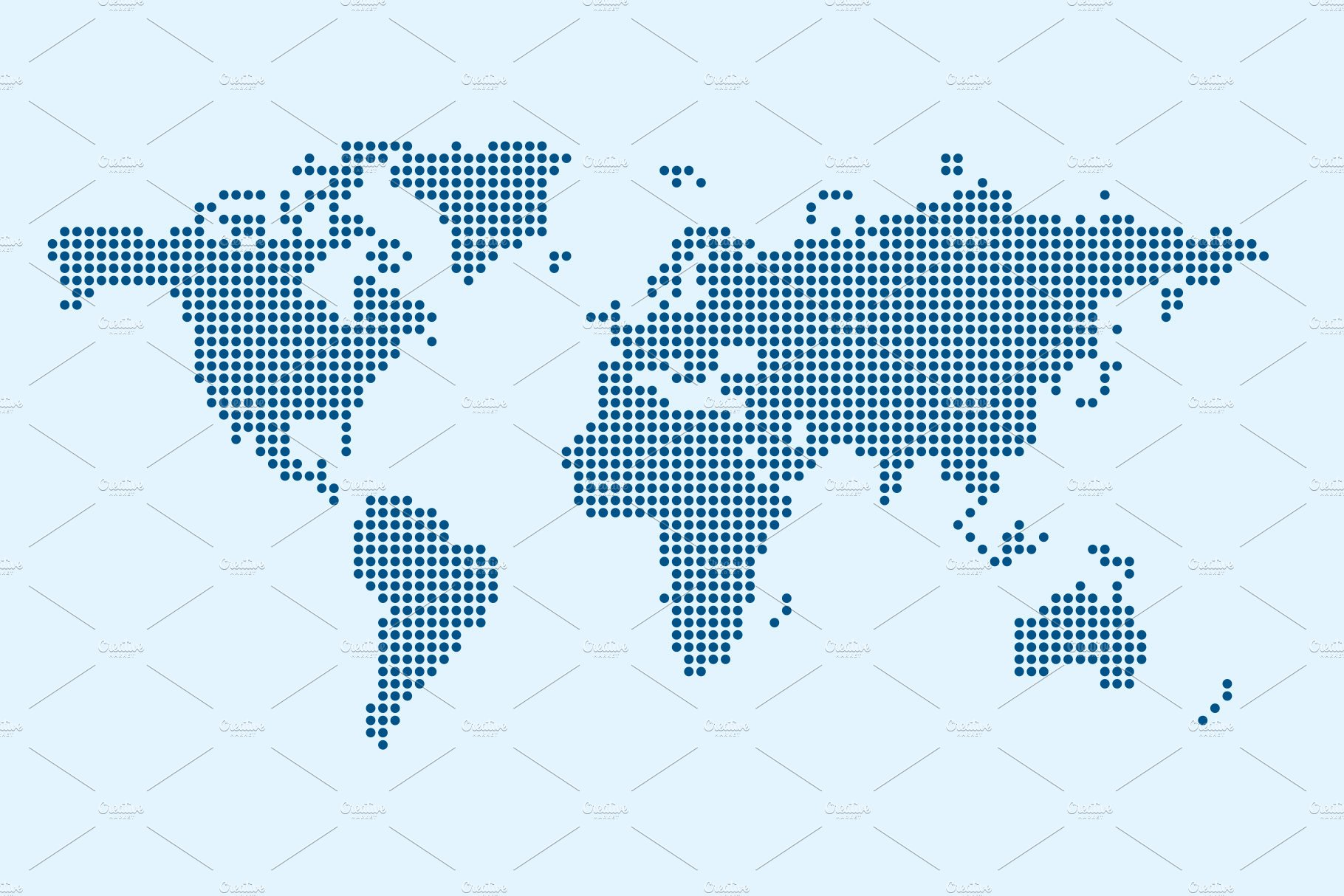 Dotted world map with continents illustrations creative market vector of world map in dot style gumiabroncs Image collections