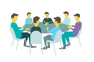 Round table talks brainstorm. Team business people meeting conference seven people. White background stock illustration vector