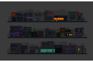 Night city street. Set of architecture buildings. Flat vector graphics. A lot of buildings cafes, lanterns and various details In the dark