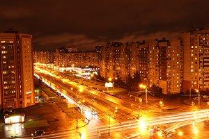 Night crossroad road lights