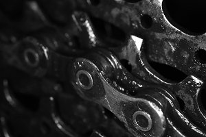 Dirty Bicycle Chain on Gears Texture