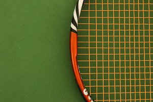 Tennis Racket on Green Playground C