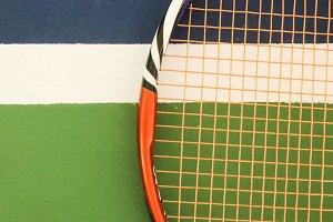Tennis Racket on Playground Court Ma