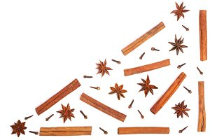star anise, cinnamon sticks and clove isolated on white background with copy space for your text, pattern flat lay