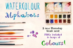 2 Watercolor Alphabet Brush Sets