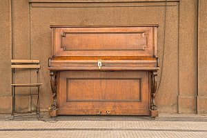 Public piano on a street in Prague