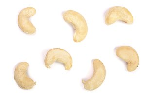 cashew nuts isolated on white background. top view. Flat lay pattern