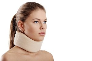 Woman in neck collar