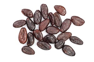 cocoa bean isolated on white background close-up top view