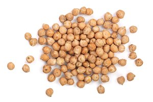 Dry raw organic chickpeas isolated on white background. Top view