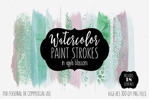 Blossom Watercolor Brush Strokes Set