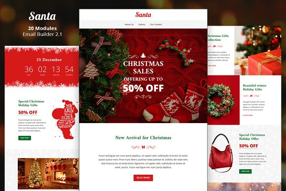 Santa Email Template Builder Email Templates Creative Market