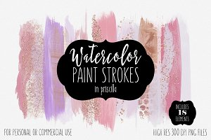 Blush Pink & Rose Gold Paint Strokes