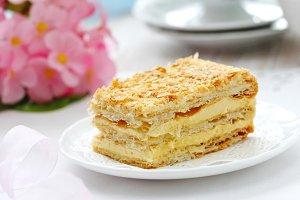 Delicious layer cake with cream