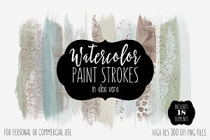 Mint Green Watercolor Paint Strokes