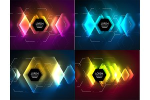 Set of techno hexagon design templates