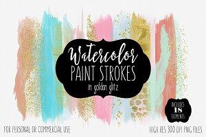 Golden Glitz Confetti Brush Strokes